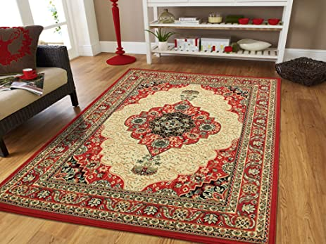 Large Area Rug Oriental Carpet 8x11 Living Room Rugs Red 8x10 Persian Clearance