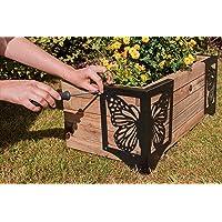 Decorative Raised Garden Bed Corner Bracket Connectors for Flower Beds, Herb Gardens or Planter Box - Set of 4 for 8″ to 12″ Beds