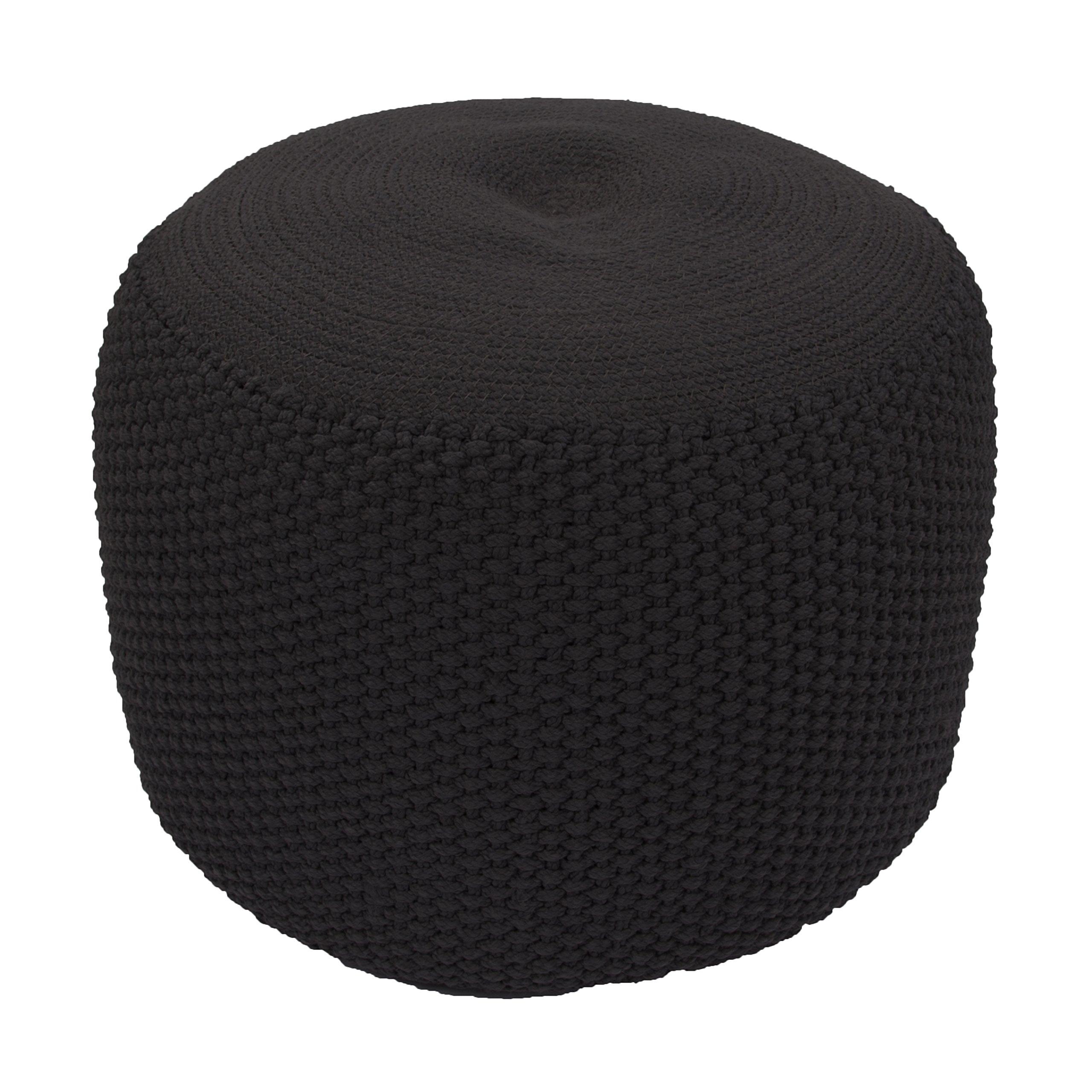 Jaipur Solid Pattern Black Polypropylene Pouf, 20-Inch x 20-Inch x 14-Inch, Jet Rustic