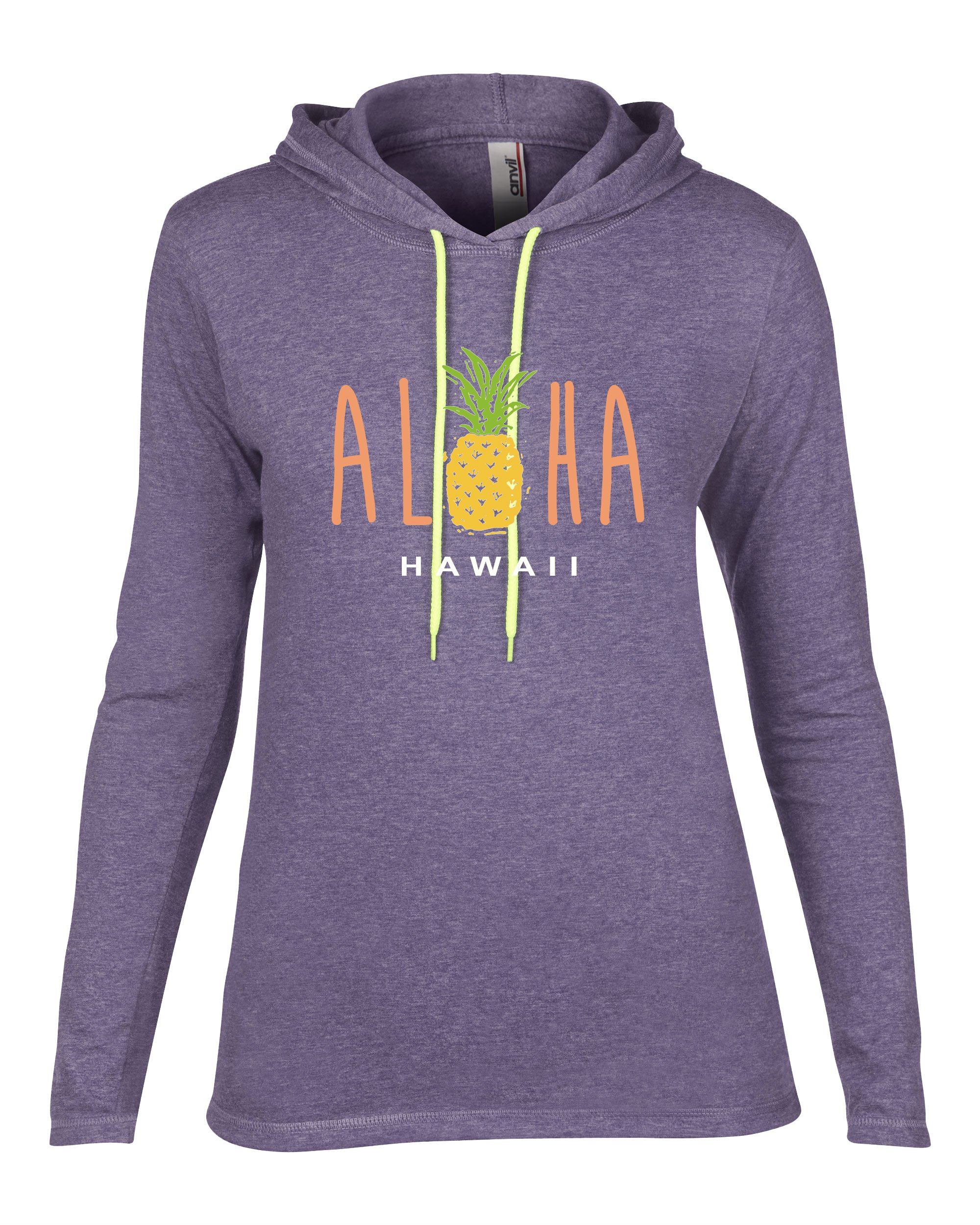 Rachel Jordan RJ Junior's You Had Me at Aloha Lightweight Long Sleeve Pullover Hoodie (XL, Heather Purple)