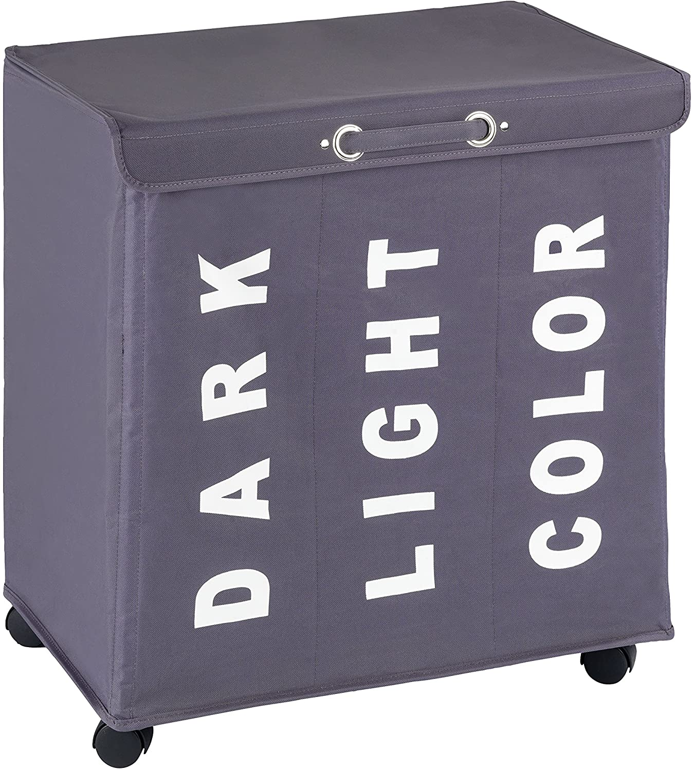 "WENKO Trivo Laundry Bin, 30.64 gallon/22"" x 23.6"" x 13.8"", Grey"