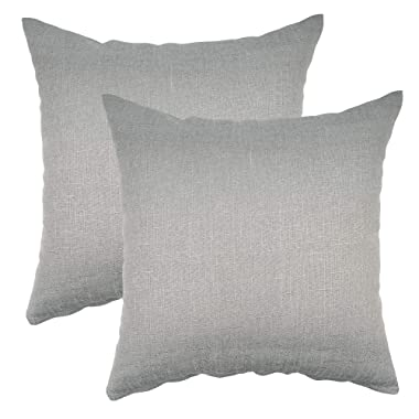 YOUR SMILE Pure Grey Square Decorative Throw Pillows Case Cushion Covers Shell Cotton Linen Blend 18 X 18 Inches, Pack of 2 (Gray)