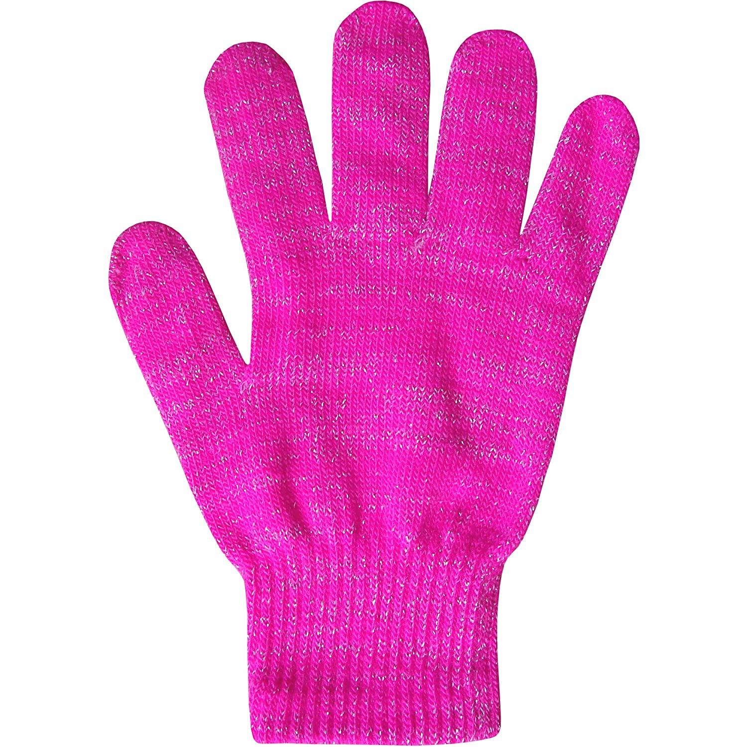Boy's & Girl's Unisex Fluorescent Super Soft Fine Knit Neon Magic Winter Gloves Neon Pink One Size 8-16 Years
