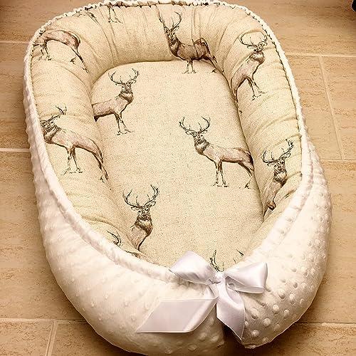 Baby Nest Bed Organic Babynest Deer Design Co Sleep Nest Newborn Boy Crib Pod Newborn Baby Girl Bed Cocoon Snuggle Bed Baby Lounger