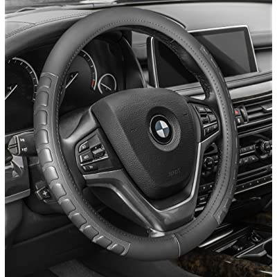 "FH Group FH2006GRAY Steering Wheel Cover Microfiber Embossed Leather Gray Will Fit Most Cars, Trucks and SUVs Standard Size 14.5"" – 15.5"": Automotive"