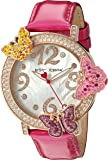 Betsey Johnson Women's Quartz Metal and Leather Automatic Watch, Color:Pink (Model: BJ00584-03)