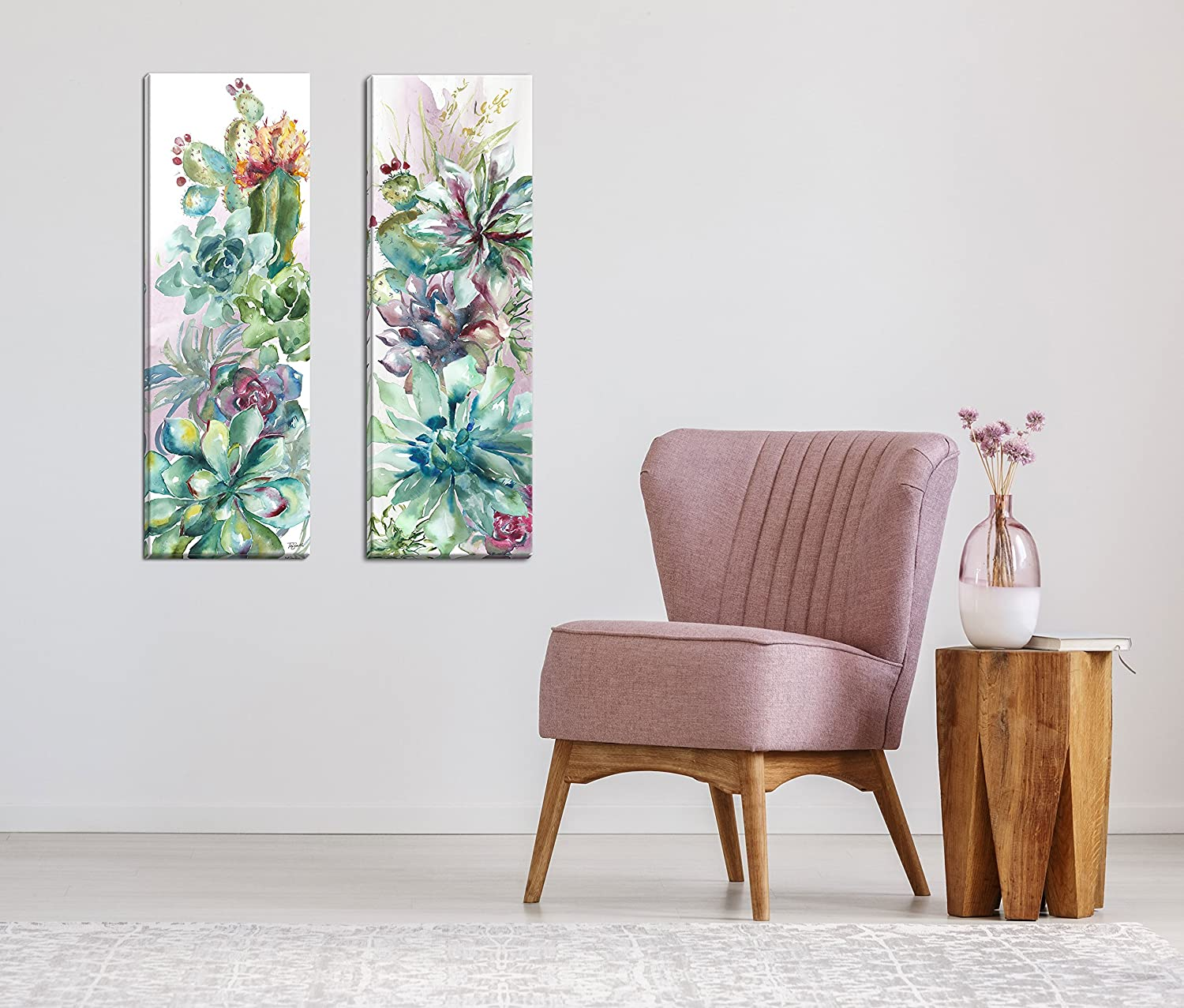 Roaring Brook Beautiful Watercolor-Style Succulent Floral Panels by TRE Sorelle Studios; Two 12x36in Hand-Stretched Canvases