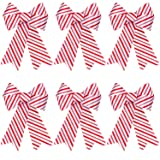 Aneco 6 Pieces Red and White Christmas Bows Holiday Christmas Wreaths Bows Xmas Red Velvet Christmas Bows for Christmas Party Decoration