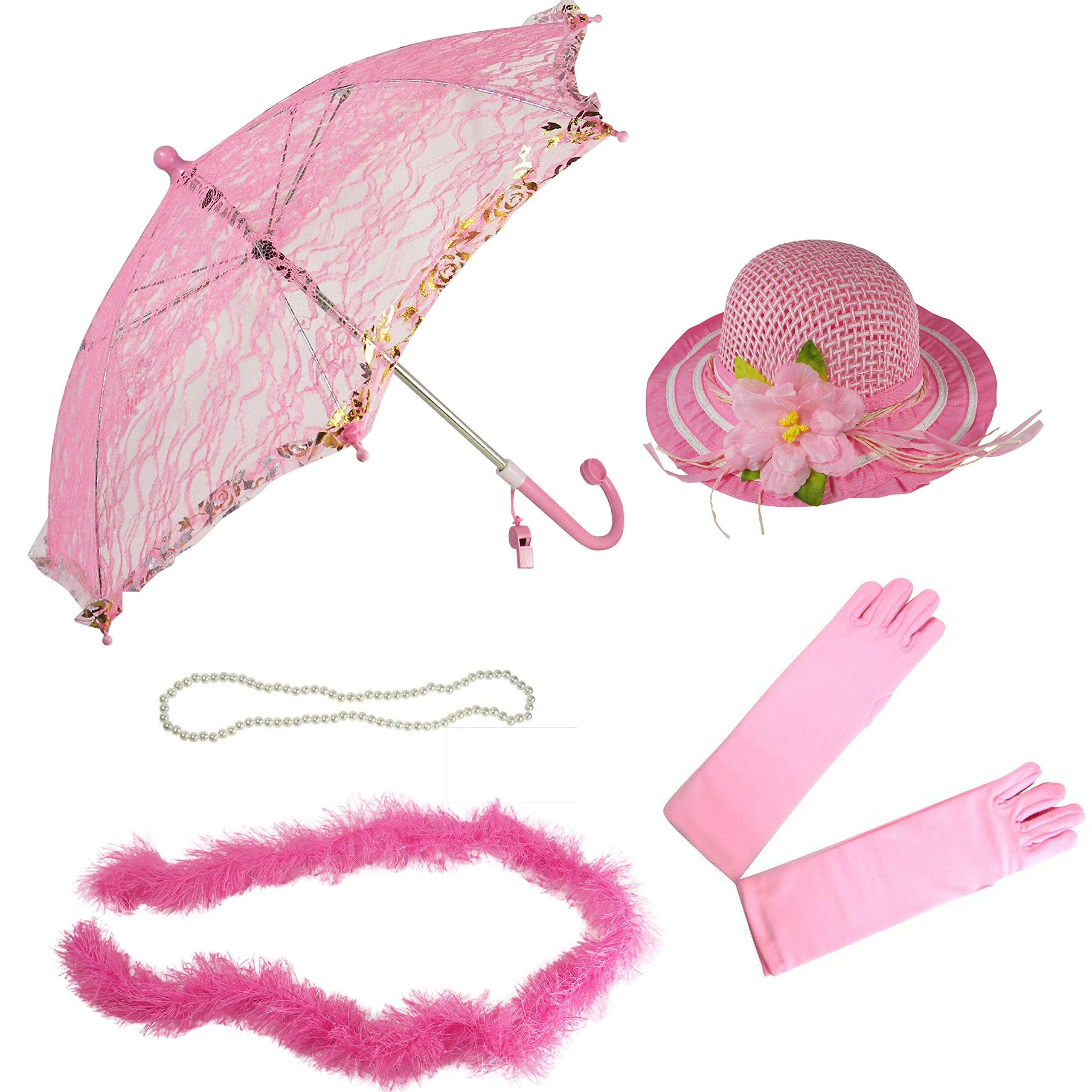 Girls Tea Party Hat Dress Up Set Hat Gloves Parasol Boa Necklace Natalie Pink by Generic (Image #1)