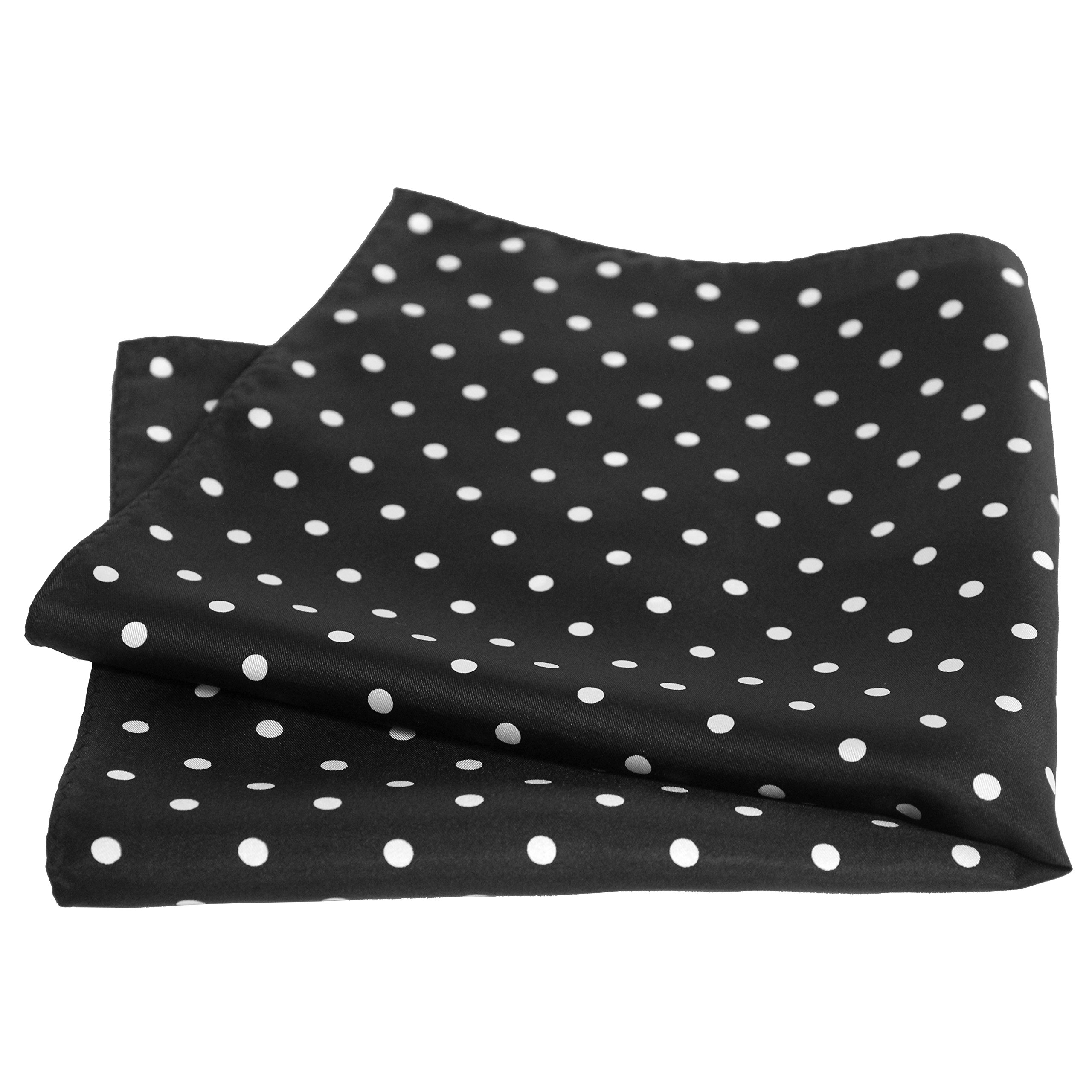 Black Silk Polka Dot Pocket Square - 17'' Handkerchief - 12mm Silk Twill by Royal Silk