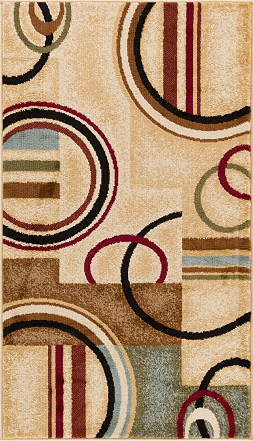 Deco Rings Ivory Geometric Modern Casual Area Rug 67x120 Cm Easy To Clean Stain Fade