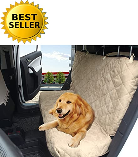 Elegance Linen Diamond Design 100 Waterproof Premium Quality Micro-Suede Bench Car Seat Protector Cover Entire Rear Seat for Pets – Ties to Stop Slipping Off The Bench