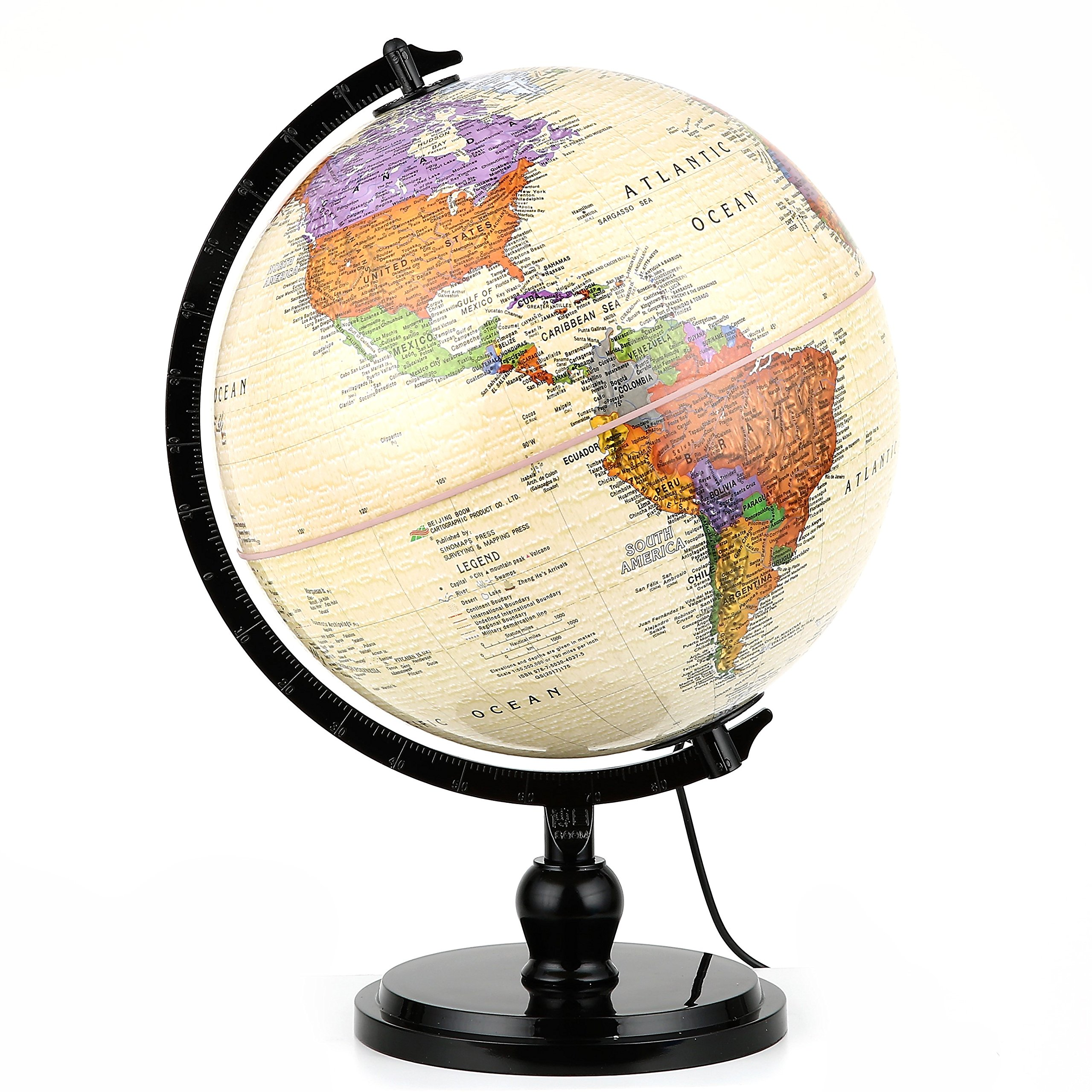 "Illuminated Antique World Globe (10""/25 cm diameter) – Premium Antique Desktop World Globe, Perfect for Home & Office Décor, Over 4,000 Place Names, Energy-Saving LED, Weighted Base"