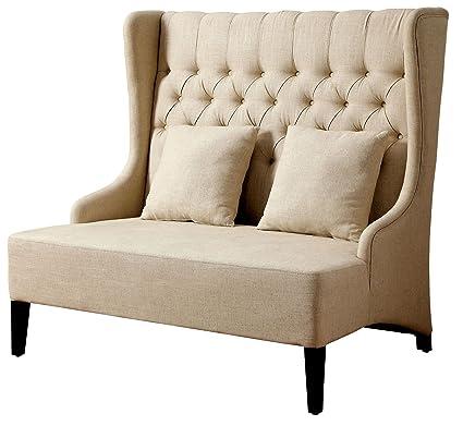 Superb Amazon Com 247Shopathome Idf Bn6247 Wingback Bench Ivory Pabps2019 Chair Design Images Pabps2019Com
