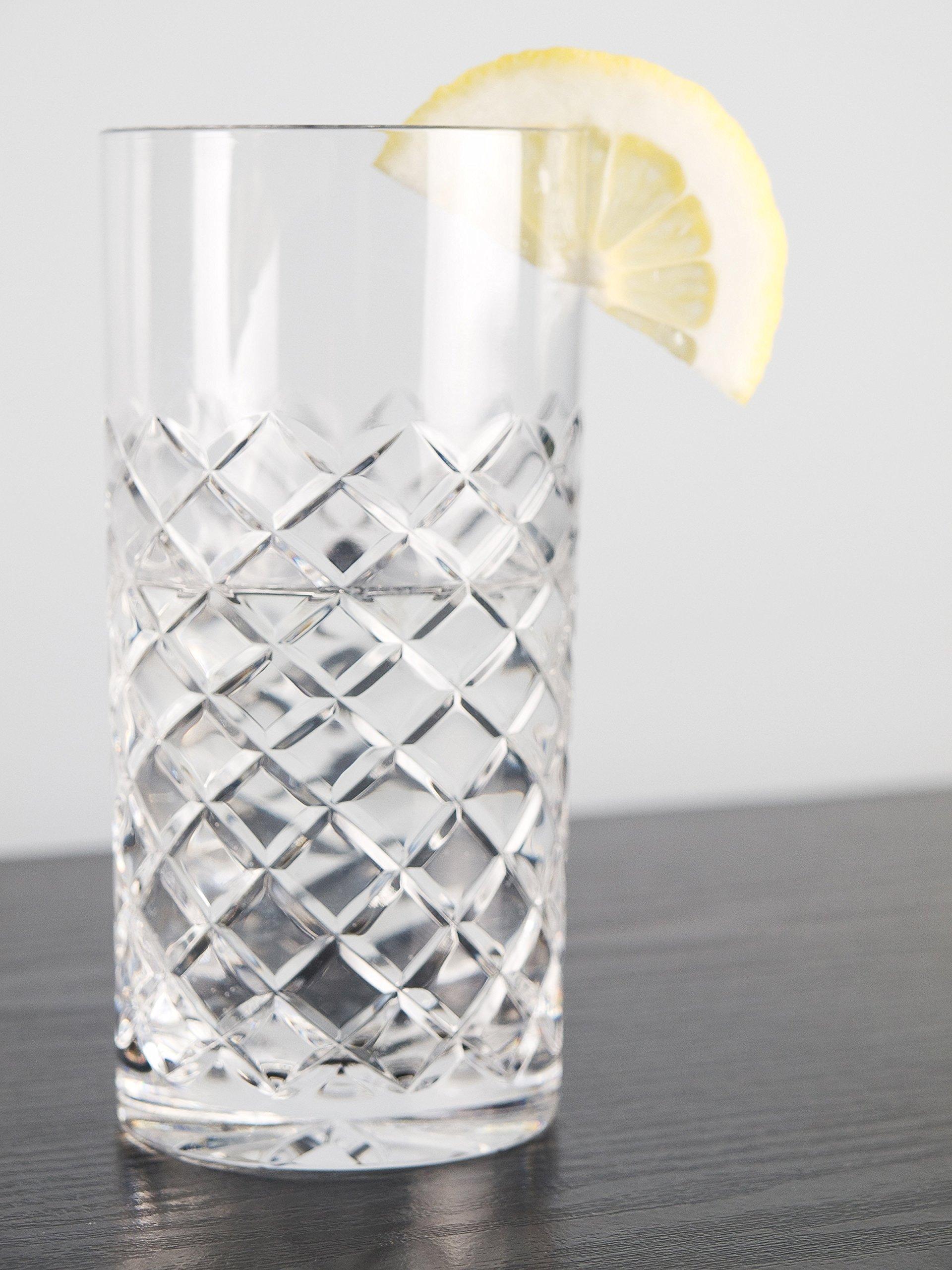 Barski - European Quality Crystal Glasses - Set Of 6 - Hand Cut Crystal - Highball Tumblers - Each Hiball Tumbler Glass is 14 oz. - Made in Europe by Barski