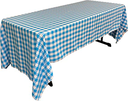 La Linen Checkered Tablecloth 60 By 120 Inch Turquoise Amazon Co Uk Kitchen Home