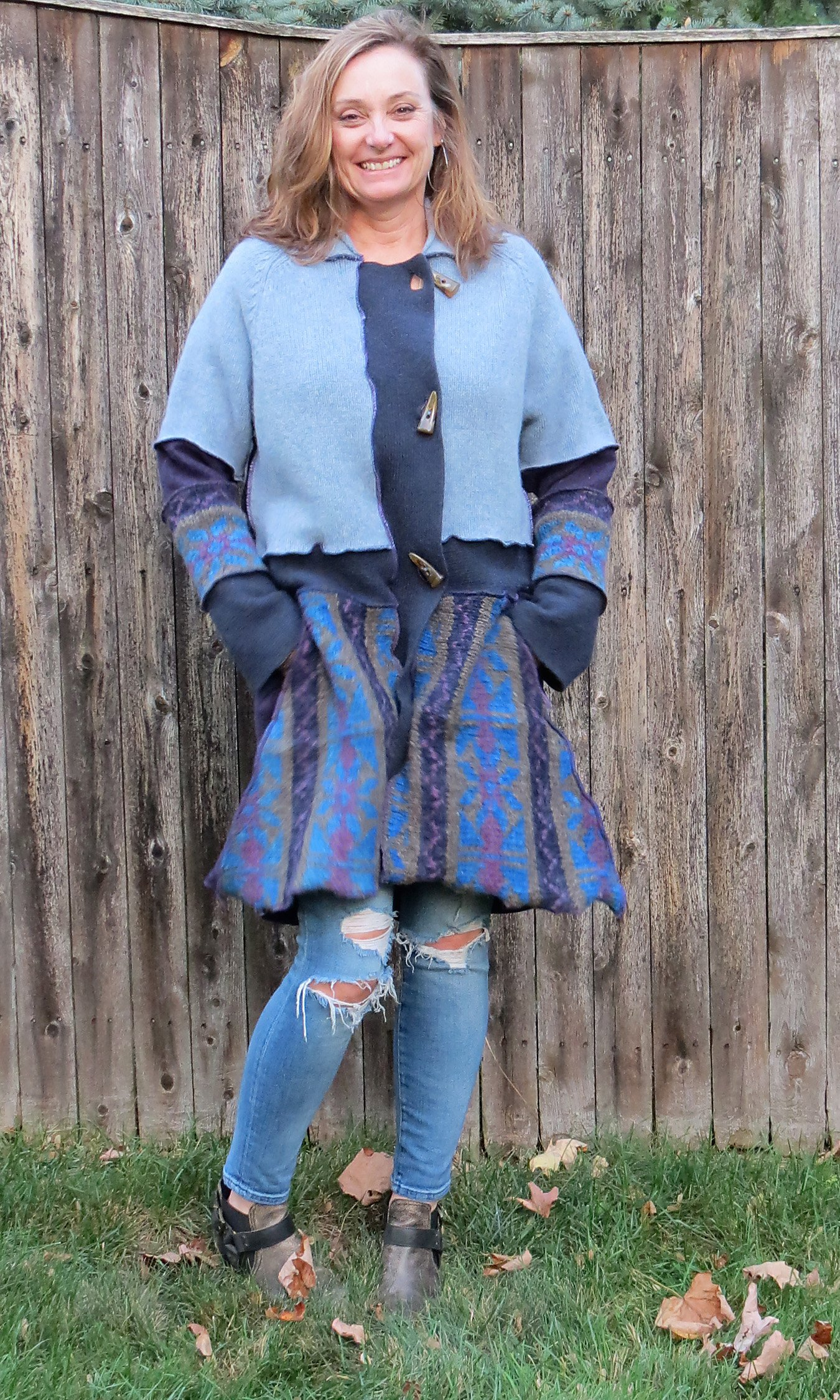 Dusty Blues + Purple Jewel Tone Swing (Aline) Cardigan Coat