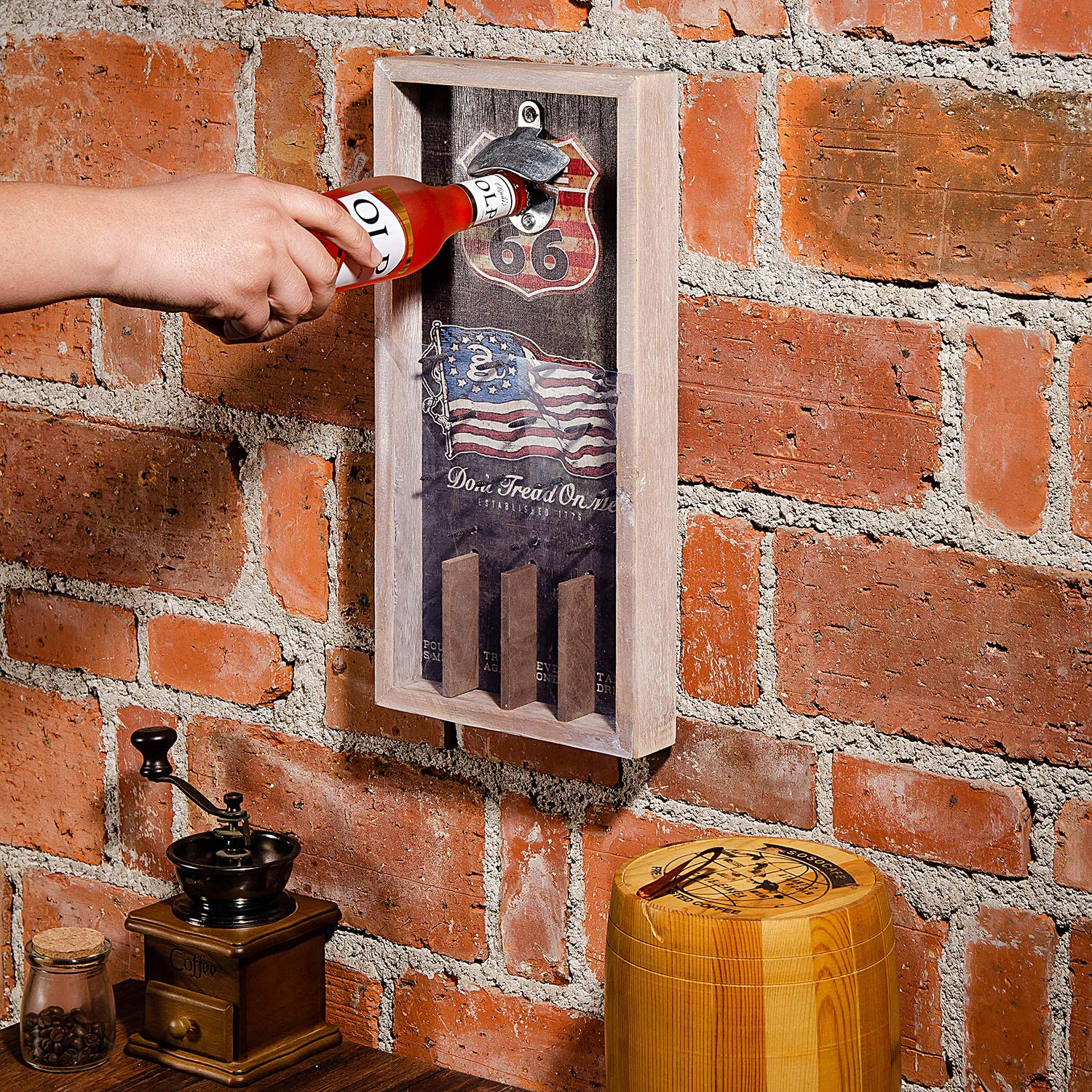 American Flag Liry Products Vintage Rustic Wall Mount Beer Bottle Opener Wood Plaque Pinball Table Arcade Game Cap Catcher Holder Retro Decor Bar Restaurant Home Kitchen
