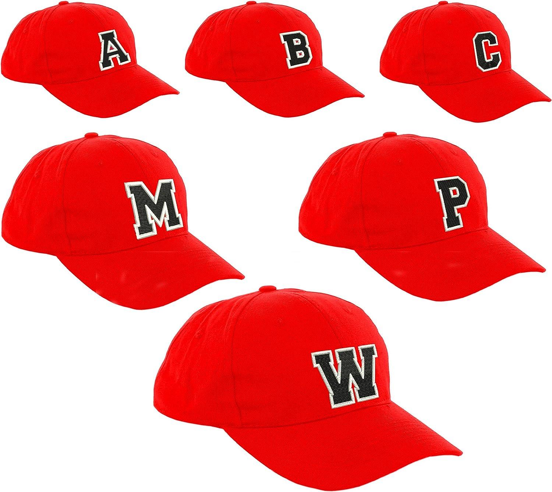 MFAZ Morefaz Ltd Ragazzo Bambino Cappello da Baseball di Stile Junior A-Z Lettera Ragazze Bambino Bambini Rosso Nero