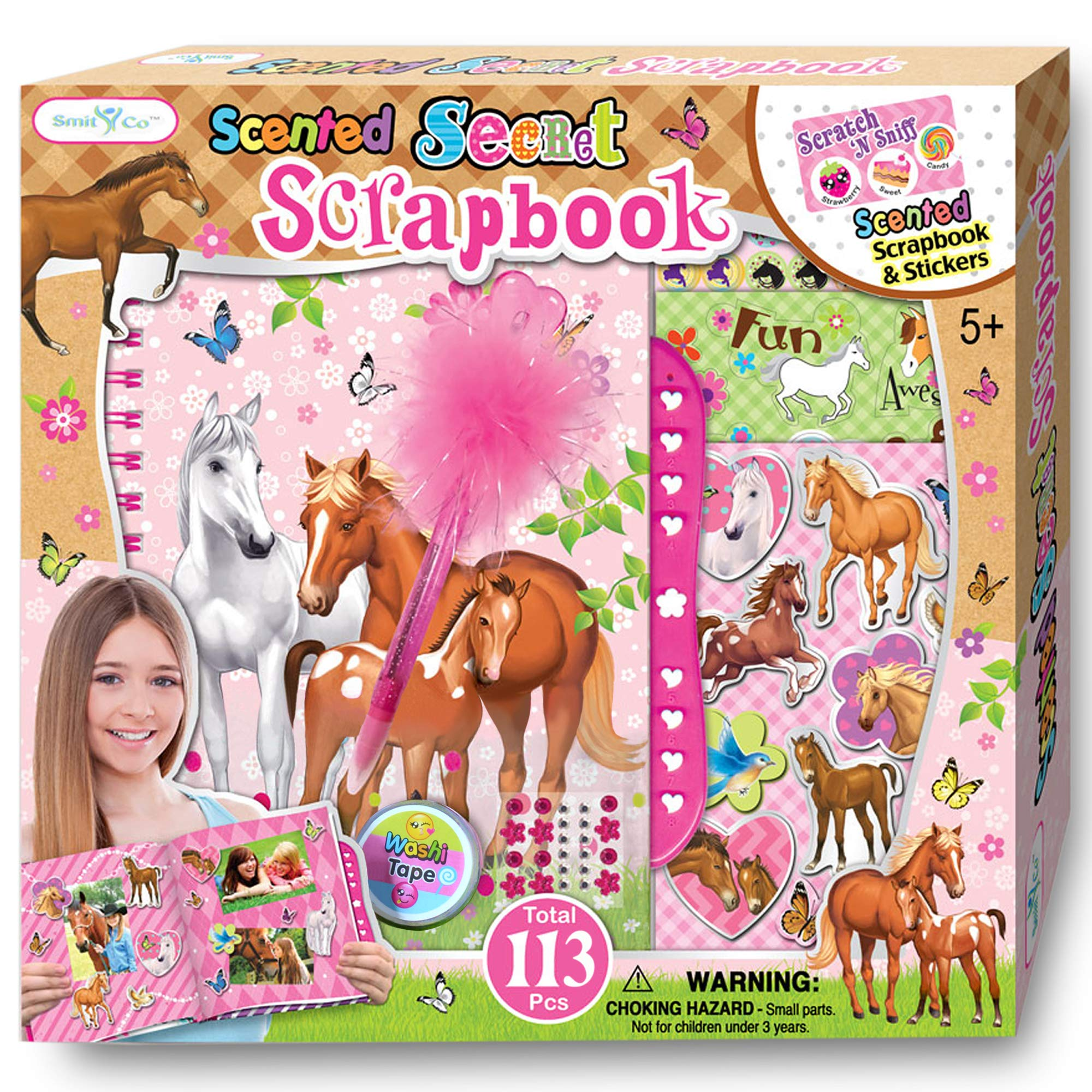 SMITCO Horse Gifts for Girls - Scrapbook Craft Kit for Kids 5 to 10 Years Old - Hardback Secret Set with Passcode Lock to Keep Her Secrets Safe, Stickers, Jewels, Tape and Pen in Horses Theme by SMITCO