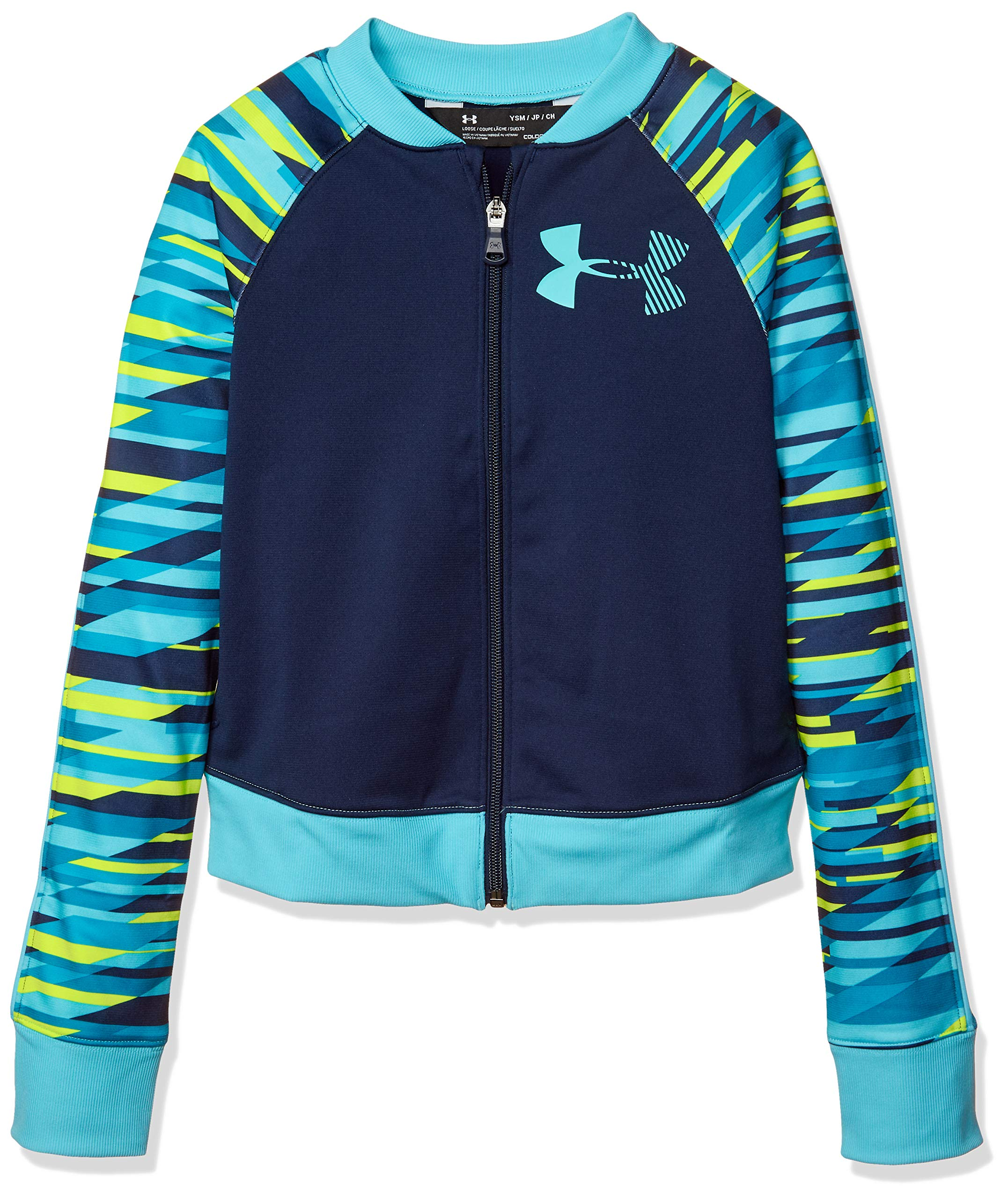 Under Armour Girls' Graphic Track Jacket, Academy (408)/Venetian Blue, Youth X-Small by Under Armour