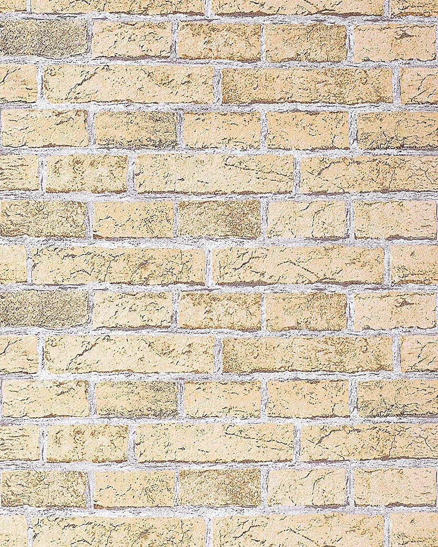 Wallpaper Wall Rustic Brick EDEM 583 21 Vintage Shabby Chic Mural Stone  Brix Vinyl Sandyellow Light Brown     Amazon.com Part 76