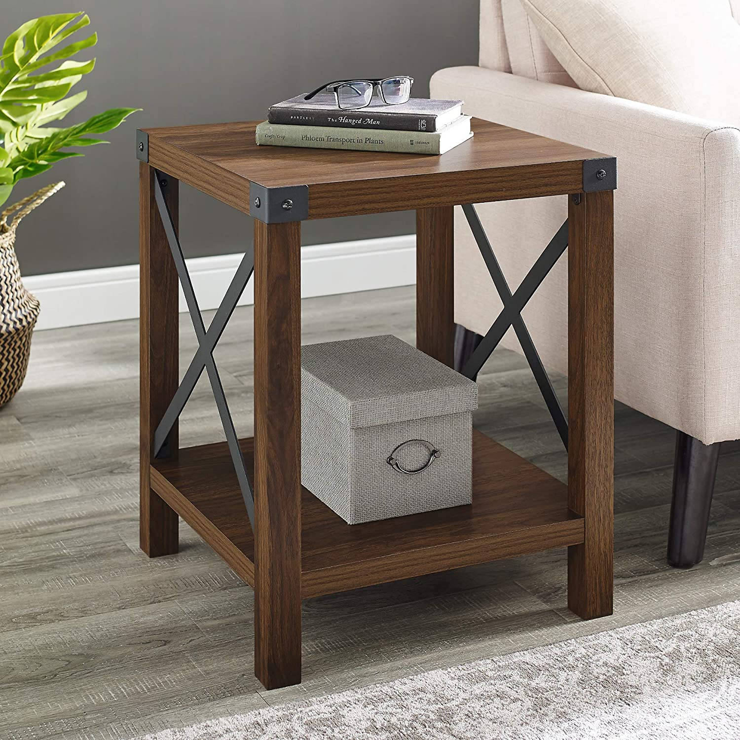 """WE Furniture AZF18MXSTDW Square Farmhouse Side End Table with Storage for Living Room, 18"""", Dark Walnut"""