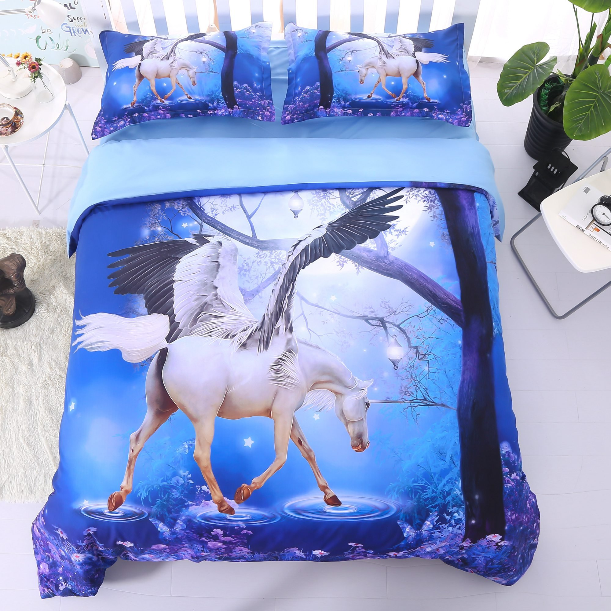 Alicemall 3D Unicorn Bedding Horse Comforter Set 3D Unicorn with Wings 5 Pieces Blue Comforter Set Digital Bedding Set, Twin Size (2 Pillowcases, Flat Sheet, Comforter, Duvet Cover) (Twin, Blue)