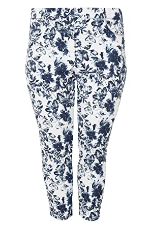 b2420eaf65693 Yours Women s Plus Size White   Blue Floral Print Cropped Jenny Jeggings  Size 16 Navy