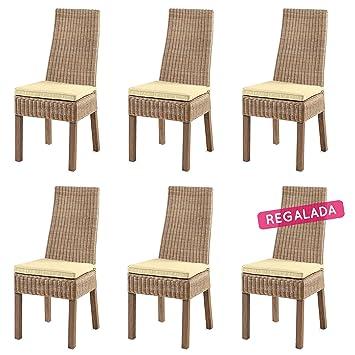 Rotin Design Rebajas : -48% Lote 6 sillas de Ratan Calvi Beige ...