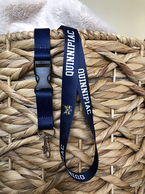 Quinnipiac University NCAA Car Keys College ID Badge Holder Lanyard Keychain Detachable Breakaway Snap Buckle w//Pouch