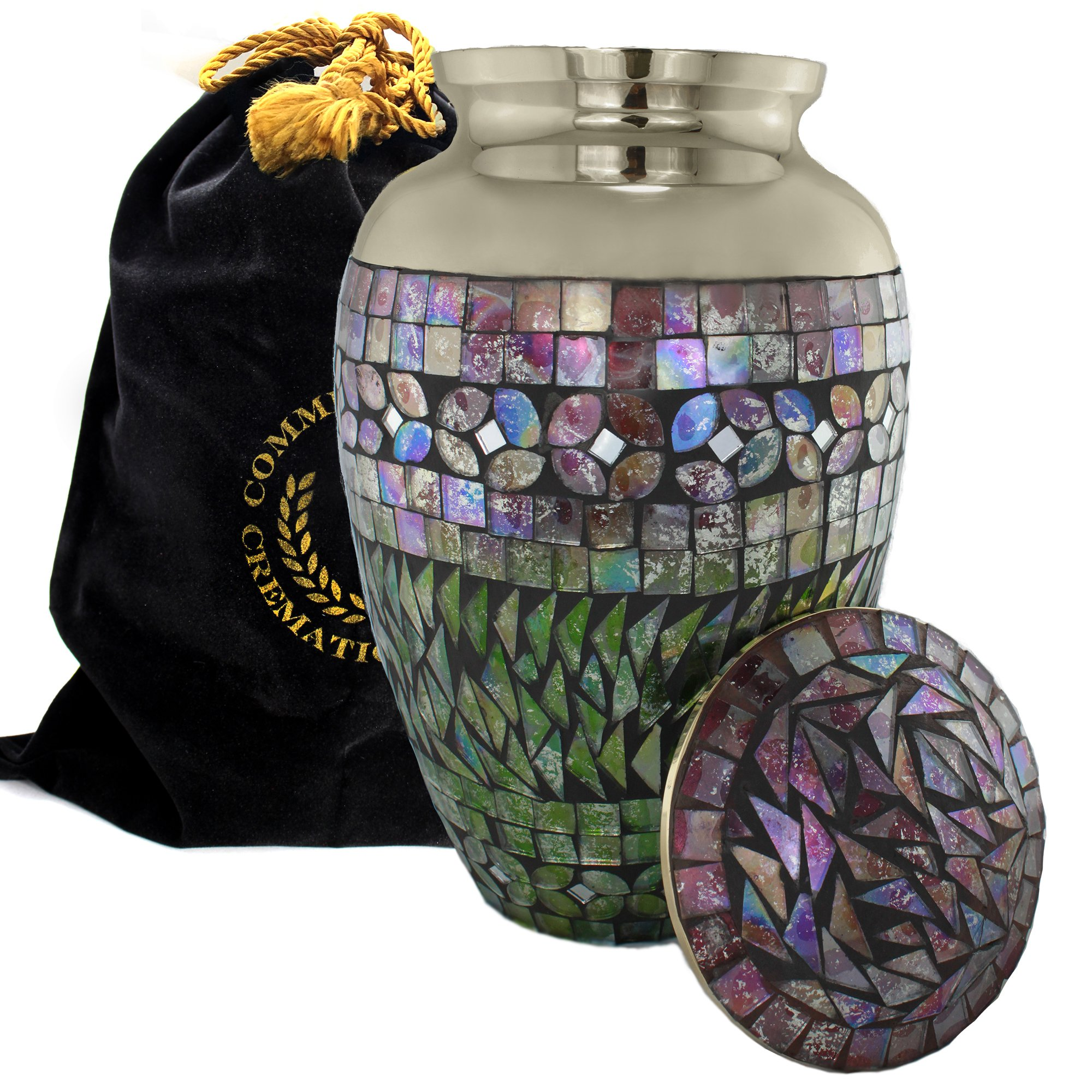 Mosaic Cracked Glass Cremation Urns for Human Ashes - Ideal for Funeral, Burial, Columbarium or Home - Cremation Urns for Human Ashes Adult 200 Cubic inches - Urns for Ashes (Large/Adult)