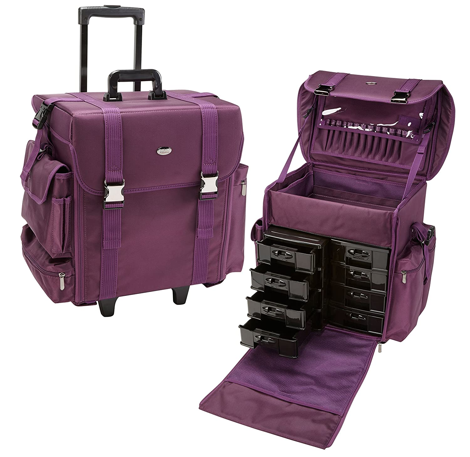 Delicieux Amazon.com : Seya 19.5 Inch Soft Nylon Professional Artist Rolling Wheeled  Trolley Makeup Train Case Cosmetic Organizer W/ 8 Drawers (Purple) : Beauty