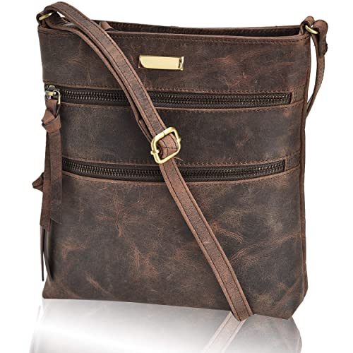 Crossbody Bags for Women - Real Leather Adjustable Shoulder Bag and Travel Purse best crossbody bag