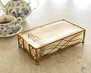 Gold Elegant Sturdy Guest Napkin Holder   Disposable Paper Hand Towel Storage Tray Caddy   Premium Quality   Bathroom Kitchen Dining Table Wedding Party Hotel Office Restaurant décor   Indoor Outdoor