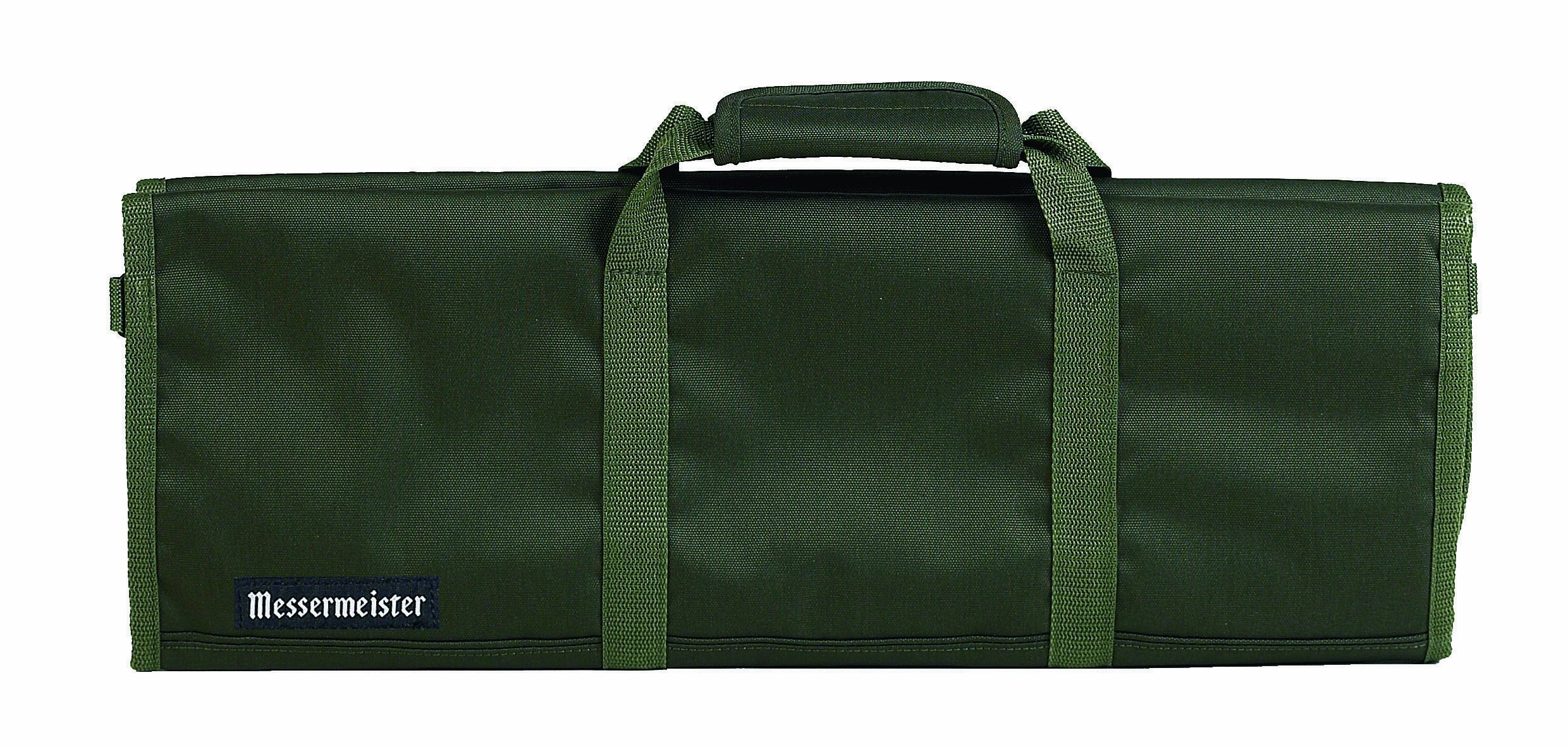 Messermeister 12-Pocket Heavy Duty Nylon Padded Knife Roll, Luggage Grade and Water Resistant, Olive by Messermeister