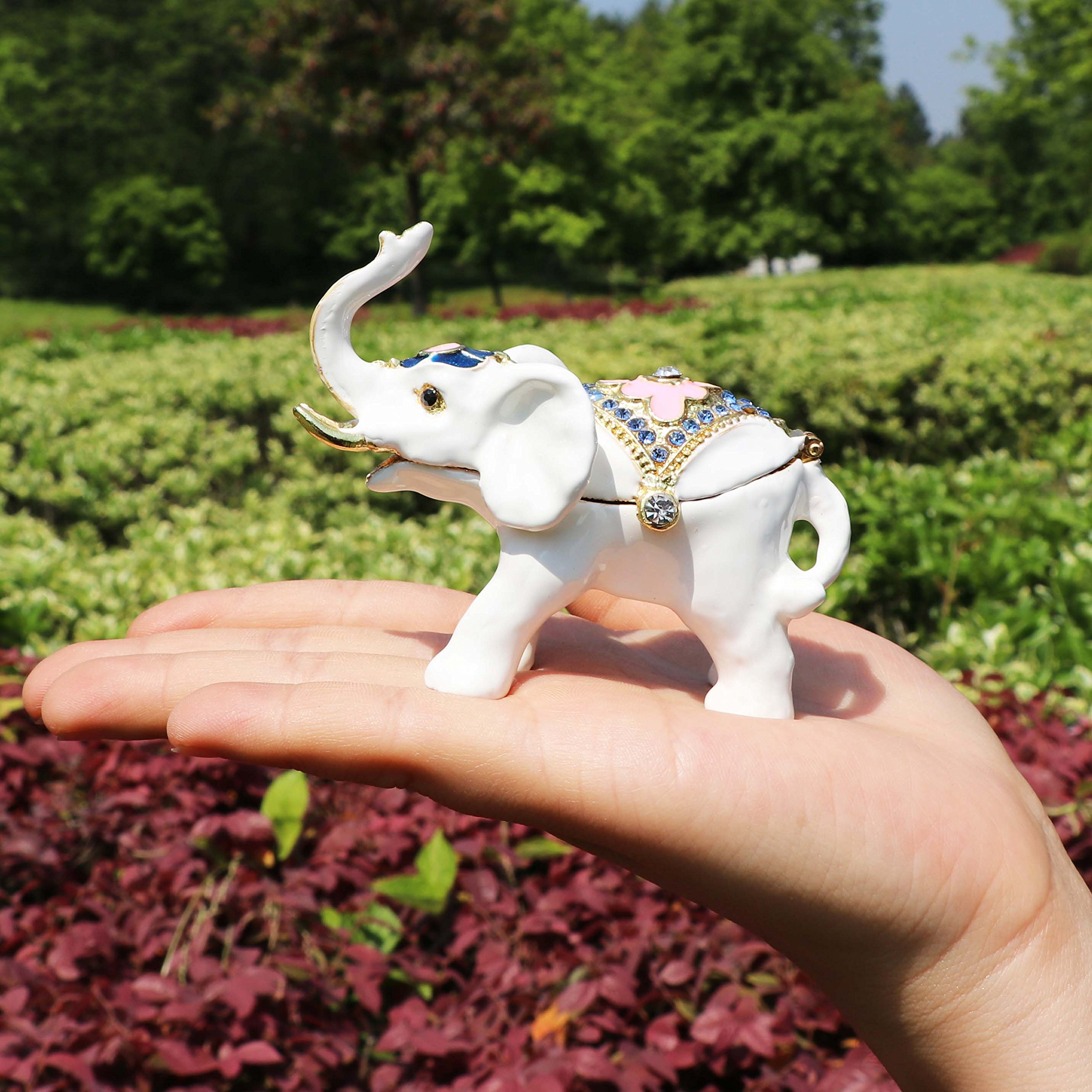 White Elephant Ring Holder Trinket Box Animal Figurine Collectible Large Jewelry Box with Gift Box