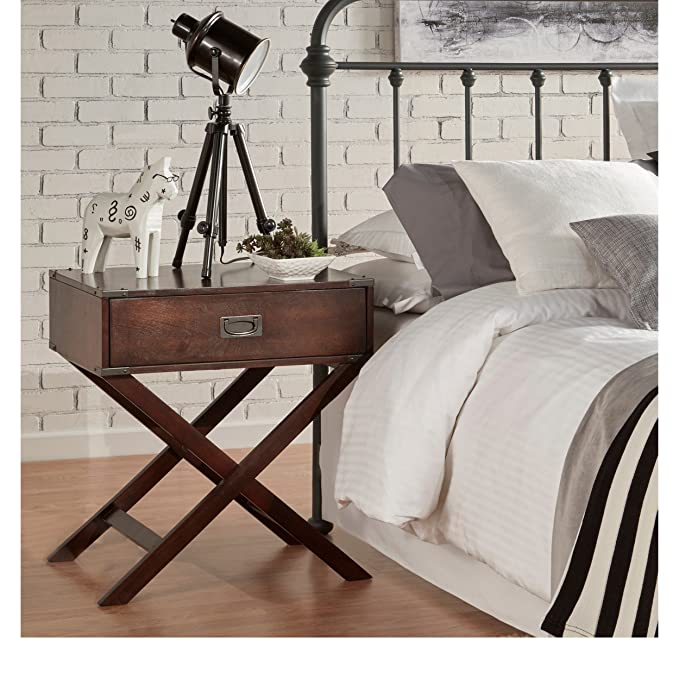 Mod Haus Living Modern Wood Accent X Base Nightstand Campaign Sofa Table Rectangle Shaped With Storage Drawer   Includes Pen (Espresso) by Mod Haus Living