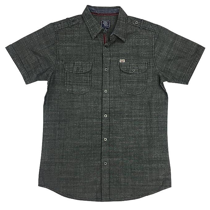 3ce18c6ae40b Black Jack Clothing Young Men's Slub Chambray Shirt (Small, Black)