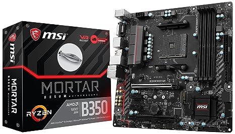 MSI ProSeries AMD Ryzen B350 DDR4 VR Ready HDMI USB 3 Micro-ATX Motherboard (B350M Mortar)