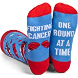 Beat Cancer One Round at a Time - Fun Colorful Blue Men's Dress Socks for Cancer Patients, Survivors, Doctors, and Families - by Lavley