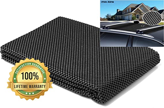 Mockins Protective Car Roof Mat for Any Car Roof Storage Cargo Bags with A Strong Grip and Extra Cushioning The Car Roof Pad Can Be Used On Your Car and SUV Or Truck