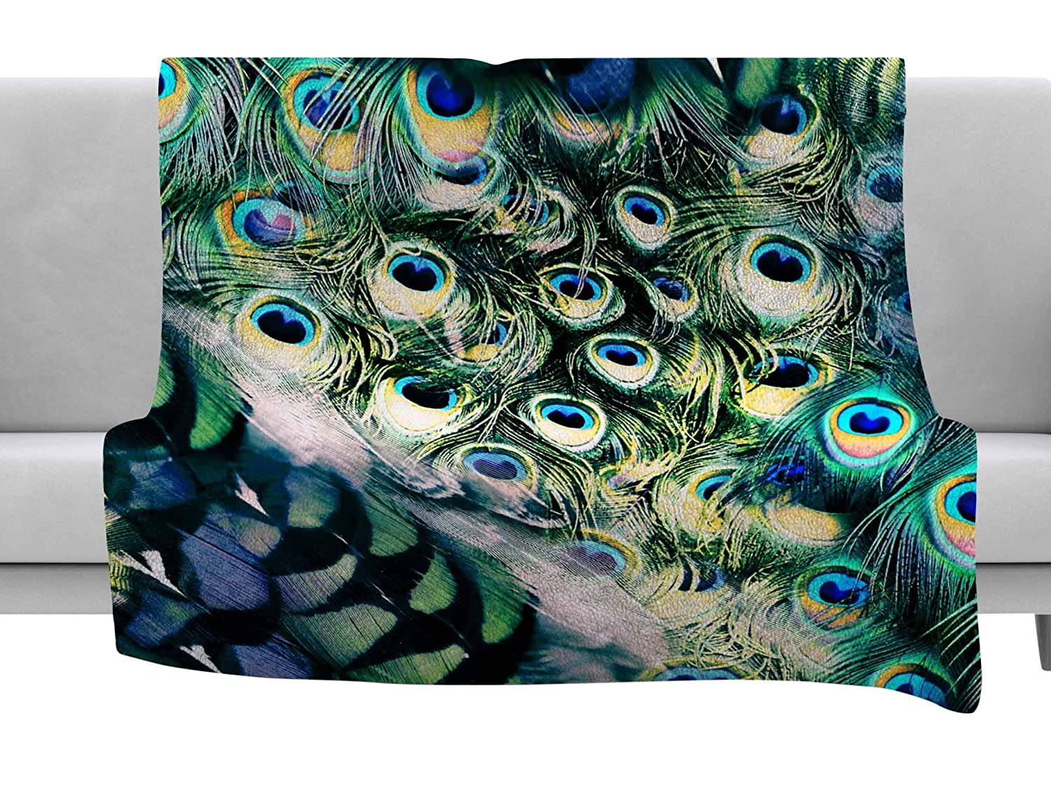 Kess InHouse Victoria Krupp Feather Mix Blue Teal Digital Throw 80 x 60 Fleece Blanket