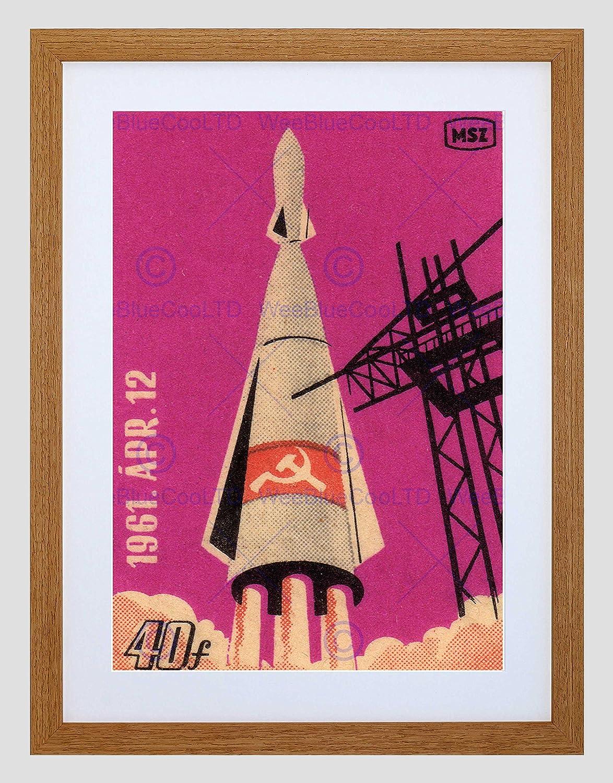 POSTAGE STAMP SOVIET RUSSIA 1961 ROCKET SPACE BLACK FRAMED ART PRINT B12X12293