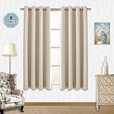 Vangao Room Darkening Thermal Insulated Blackout Curtains Set Of 2 Beige  52x63 Inch Solid Grommet Top