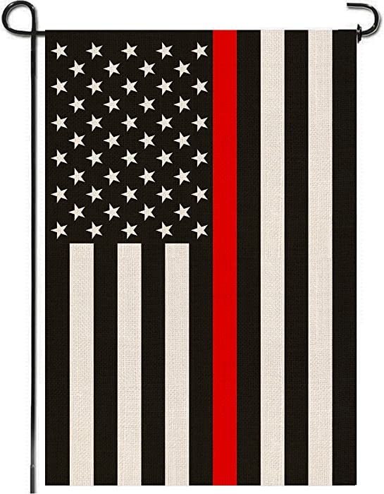 Mogarden USA Thin Red Line Garden Flag, Double Sided, 12.5 x 18 Inches, Honoring Firefighters, Thick Weatherproof Burlap Patriotic American Yard Flag