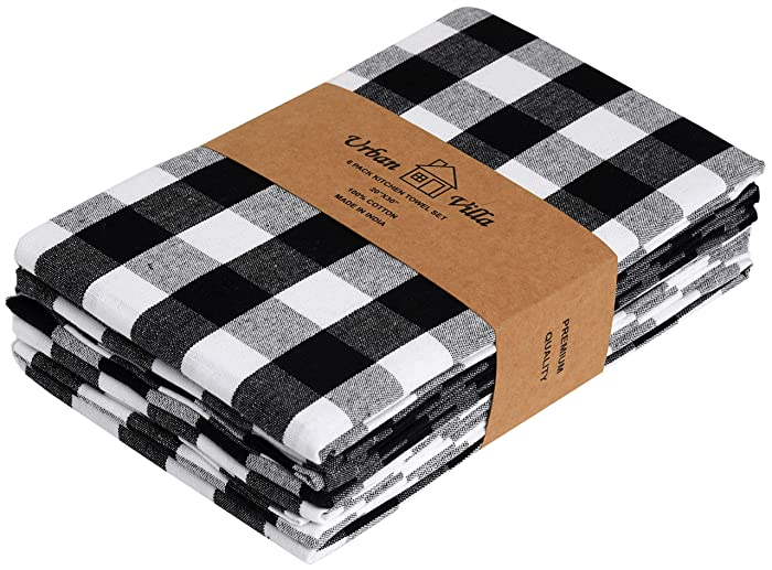 Urban Villa Kitchen Towels, Premium Quality,100% Cotton Dish Towels,Ultra Soft (Size: 20X30 Inch), Black/White Highly Absorbent Bar Towels & Tea Towels - (Set of 6)