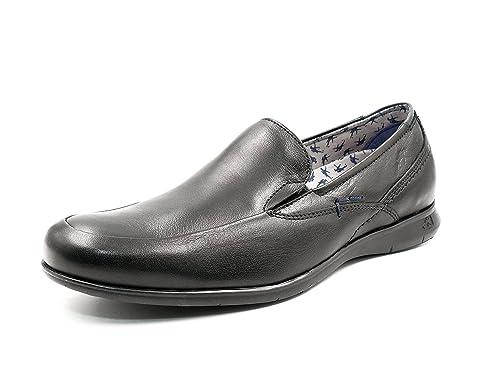 Fluchos Zapato Hombre Tipo Mocasín, Color Negro con Elásticos Laterales - 9762-65C1 (