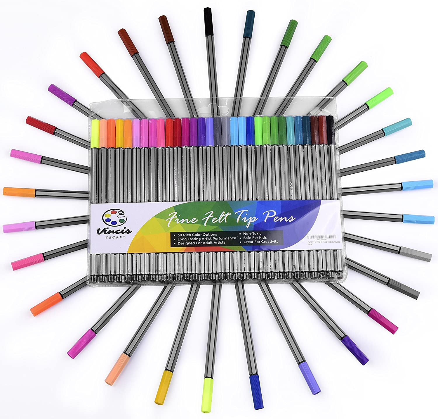 Color drawing pens for artists - Fine Felt Tip Pens 30 Piece Colored Pen Art Set Ideal For Adult Coloring And Fine Drawing Amazon Co Uk Office Products