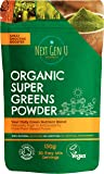 Next Gen U | Organic Super Greens Powder 150g | Vegan Green Smoothie Detox Juice Supplement | Proven Energy Booster | Over 20% Protein | Maca Matcha Wheatgrass Acai Flaxseed | Focus & Immune Function